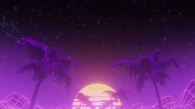 retrowave road and wireframe landscape at sunset - 1980 stock videos & royalty-free footage