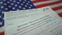 Return for a second dose over Covid-19 Vaccination Record Card on American flag background