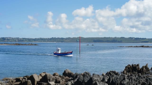 returning with the catch, fishing boat in brittany. - david johnson stock videos & royalty-free footage