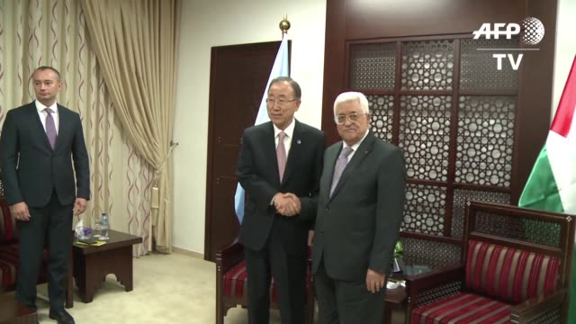 reunido con el presidente de la autoridad palestina el secretario general de la onu renovo este miercoles su pedido para que se detenga la escalada... - palestina stock videos and b-roll footage