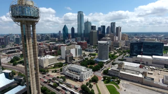 reunion tower approach - dallas stock videos & royalty-free footage