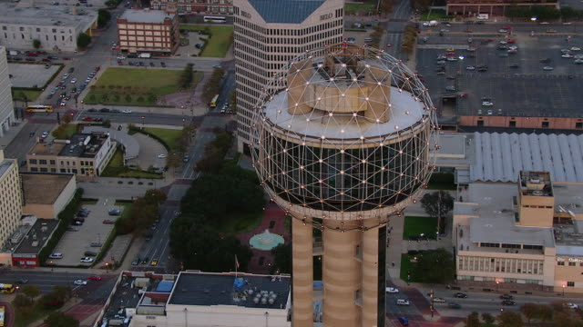 Reunion Tower looms over downtown Dallas, Texas.