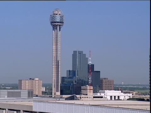 Reunion Tower with skyscrapers in background