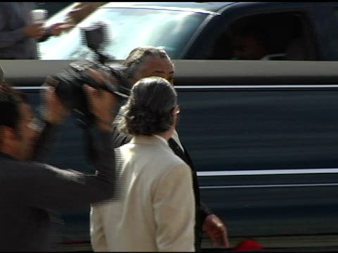 rev al sharpton at the funeral of johnnie l cochran, jr arrivals at west angeles cathedral in los angeles, california on april 6, 2005. - johnnie cochran stock videos & royalty-free footage