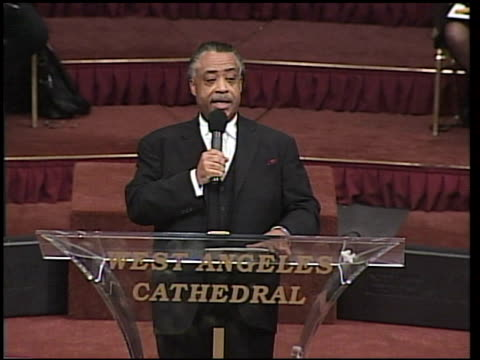 rev al sharpton at the johnnie cochran memorial services at west los angeles baptist in los angeles california on april 6 2005 - baptist stock videos & royalty-free footage