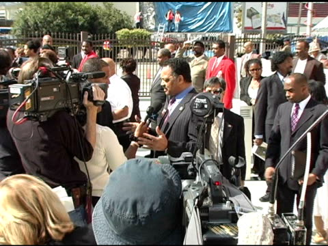 rev jesse jackson at the funeral of johnnie l cochran, jr arrivals at west angeles cathedral in los angeles, california on april 6, 2005. - johnnie cochran stock videos & royalty-free footage