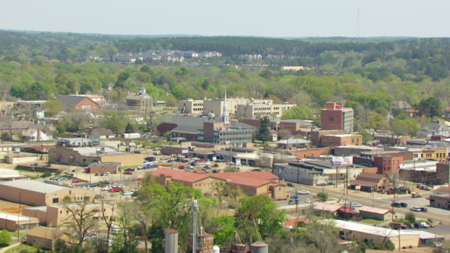 ws aerial reveal historic district / nacogdoches, texas, united states - small town stock videos and b-roll footage