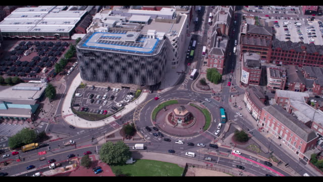 reveal of leeds city centre - drone footage - leeds stock videos & royalty-free footage