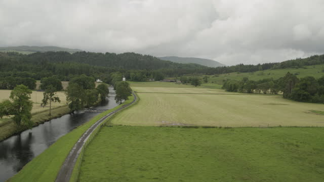 reveal shot of river aray and the surrounding landscape - evergreen stock videos & royalty-free footage