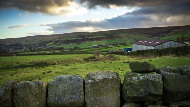 reveal time lapse of yorkshire farm - yorkshire england stock videos & royalty-free footage