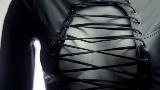 revealing leather top for role-playing - mannequin stock videos & royalty-free footage
