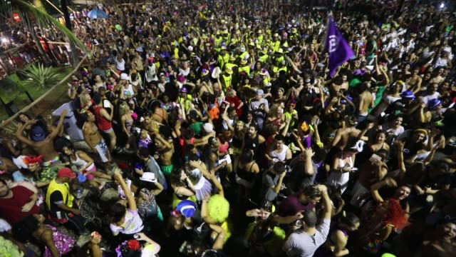 revelers celebrate at a carnival 'bloco' or street party on february 26 2017 in rio de janeiro brazil - street party stock videos & royalty-free footage