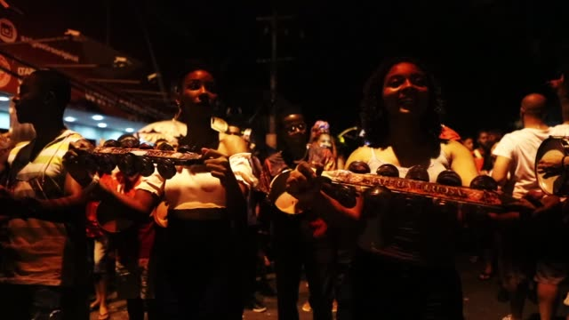 revelers gather during a precarnival 'street practice' for the salgueiro samba school on january 25 2018 in rio de janeiro brazil in spite of a... - party social event stock videos and b-roll footage