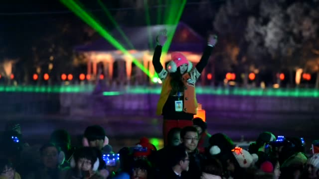 revellers celebrate at a new year countdown event at the historic summer palace in beijing clean beijing welcomes the new year on january 01 2013 in... - summer palace beijing stock videos & royalty-free footage