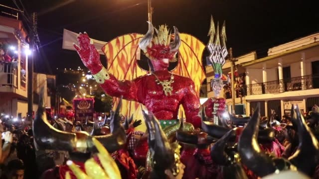revellers in the western central colombian town of riosucio celebrate the devil's carnival a biennial festival that has its origins in the 19th... - devil stock videos & royalty-free footage