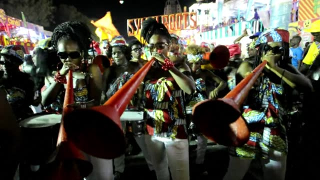 revellers perform during the second day of haiti's 2015 national carnival parade in port au prince - hispaniola stock videos & royalty-free footage