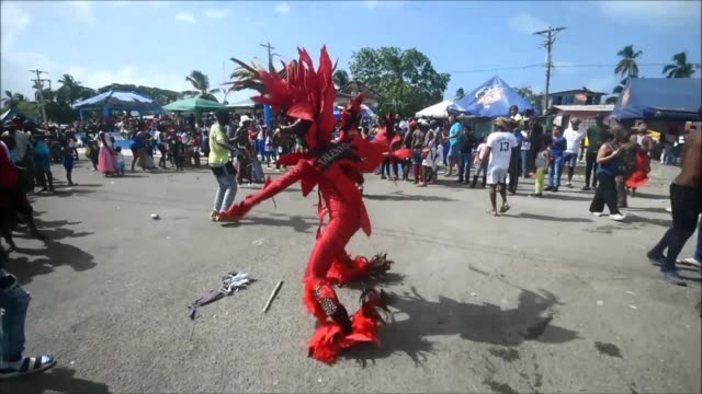 Revellers take part in the Congos and Devils' carnival festival in Nombre de Dios Panama a celebration that dates back to the colonial times with...