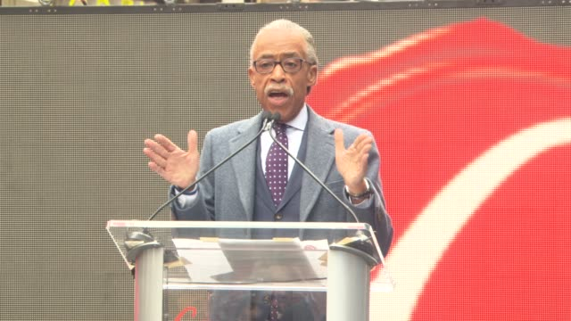 speech reverend al sharpton at unveiling of the original longlost jackie robinson baseball contracts at times square on april 11 2016 in new york city - al sharpton stock videos & royalty-free footage
