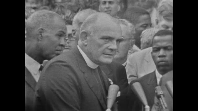 reverend eugene carson blake speaks at the march on washington - 1963 stock videos & royalty-free footage