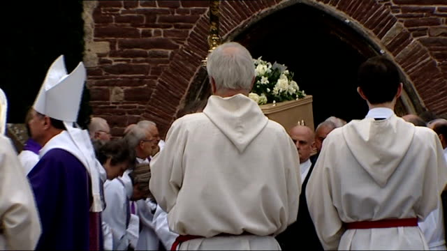 reverend john suddards murder: funeral held; england: gloucestershire: thornbury: ext coffin of murdrered vicar reverend john suddards carried from... - minister clergy stock videos & royalty-free footage