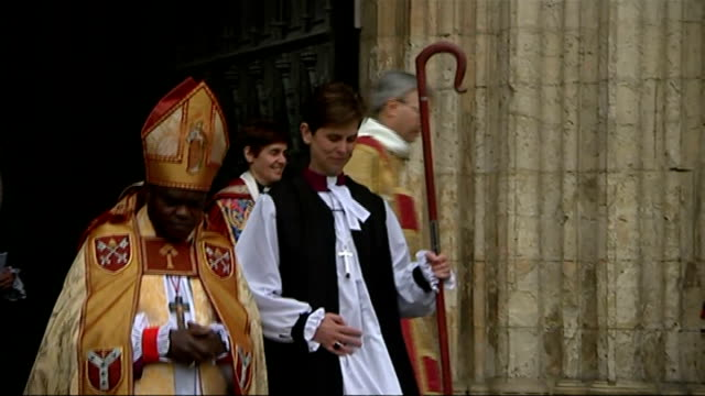 reverend libby lane consecrated as first female church of england bishop; england: york: york minster: ext rt rev libby lane , dr john sentamu and... - anglican stock videos & royalty-free footage