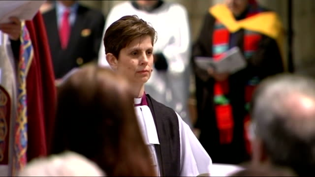reverend libby lane consecrated as first female church of england bishop int high angle view of congregation rt rev libby lane speaking during... - elizabeth i of england stock videos & royalty-free footage