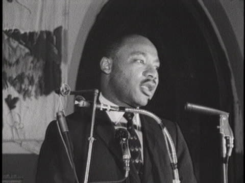 reverend martin luther king jr delivers a speech to a church congregation in birmingham alabama concerning the schizophrenic personality of the... - congregation stock videos & royalty-free footage
