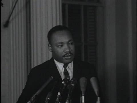reverend martin luther king, jr. tells reporters that his discussion about segregation with us president john f. kennedy was fruitful. - social issues stock videos & royalty-free footage