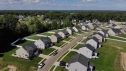 Reverse Aerial Establishing Shot of Ohio Neighborhood