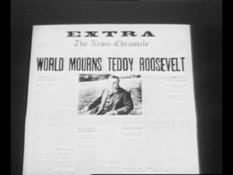 "reverse angle typesetting frame as vo typewriter sounds letters appear individually to form mirror image of words ""greatest headlines"" on one row and... - theodore roosevelt us president stock videos & royalty-free footage"