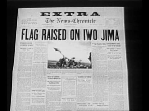 "reverse angle typesetting frame as vo typewriter sounds letters appear individually to form mirror image of words ""greatest headlines"" on one row and... - iwo jima island stock videos & royalty-free footage"