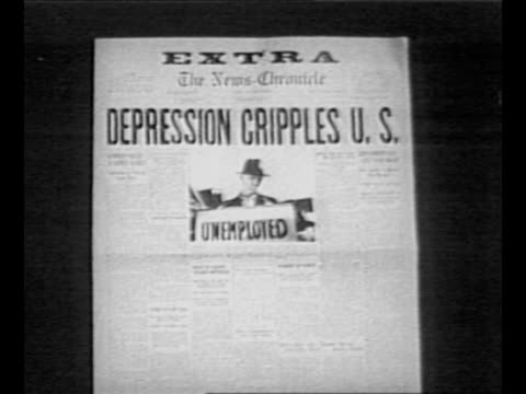 "reverse angle typesetting frame as vo typewriter sounds letters appear individually to form mirror image of words ""greatest headlines"" on one row and... - great depression stock videos & royalty-free footage"