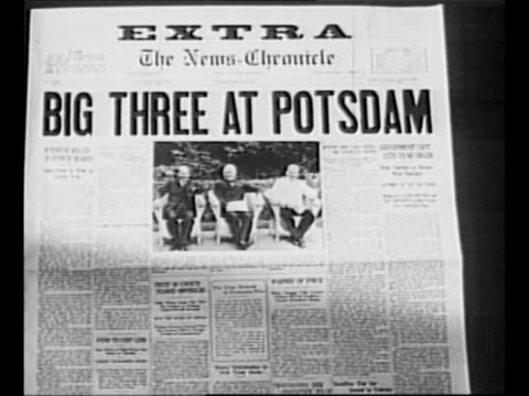 "reverse angle typesetting frame as vo typewriter sounds letters appear individually to form mirror image of words ""greatest headlines"" on one row and... - potsdam conference stock videos and b-roll footage"