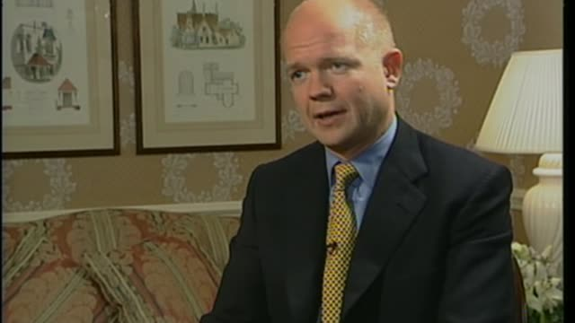 review into medicinal use of cannabis announced bsp041000009 / bournemouth int william hague mp interview sot - william hague stock-videos und b-roll-filmmaterial