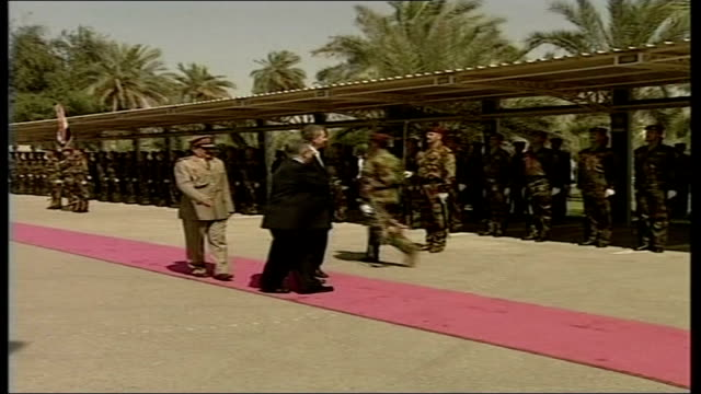 Review of a year in Baghdad 22506 Tony Blair MP along red carpet past Iraqi honour guard Tony Blair MP press conference SOT this is a new beginning...