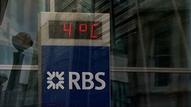 review of banking practices announced / anger over possible bonus payouts for bank staff; r19010908 the city: rbs sign and logo with digital clock... - banking sign stock videos & royalty-free footage