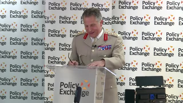 review of the role of the armed forces: ben wallace and sir nick carter speeches; england: london: policy exchange: int ben wallace mp speech sot /... - ben wallace stock videos & royalty-free footage