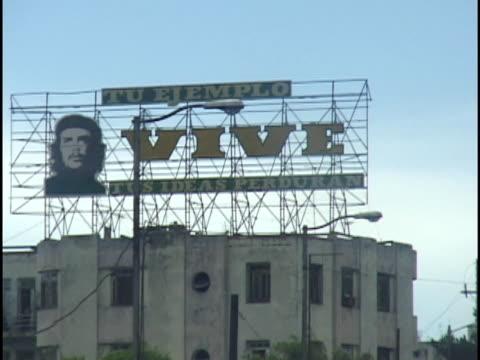 MS, Revolutionary billboard with Che Guevara portrait, Havana, Cuba