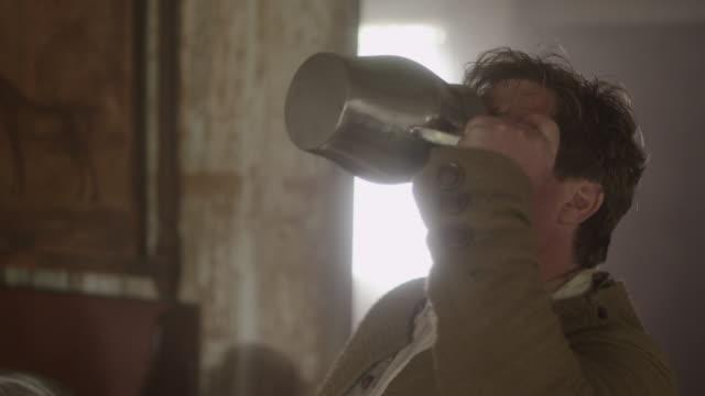 revolutionary man drinking from jug - jug stock videos & royalty-free footage