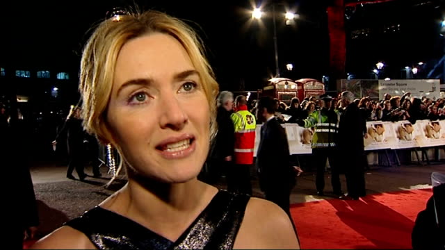 'revolutionary road' leicester square premiere red carpet arrivals kate winslett interview sot on golden globes acceptance speech happy to be... - kate winslet stock-videos und b-roll-filmmaterial