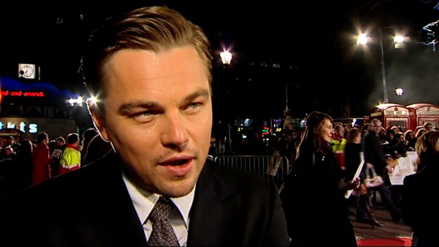 'Revolutionary Road' Leicester Square premiere red carpet arrivals Leonardo DiCaprio interview SOT working with Kate Winslett think Kate Winslett...
