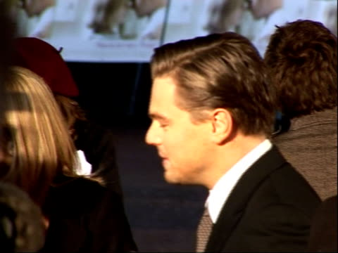 'revolutionary road' premieres in london's leicester square; more of winslet along on red carpet / dicaprio speaking to reporter / more of winslet... - autographing stock videos & royalty-free footage