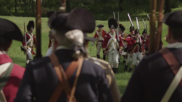 revolutionary war battle reenactment - revolution stock videos & royalty-free footage