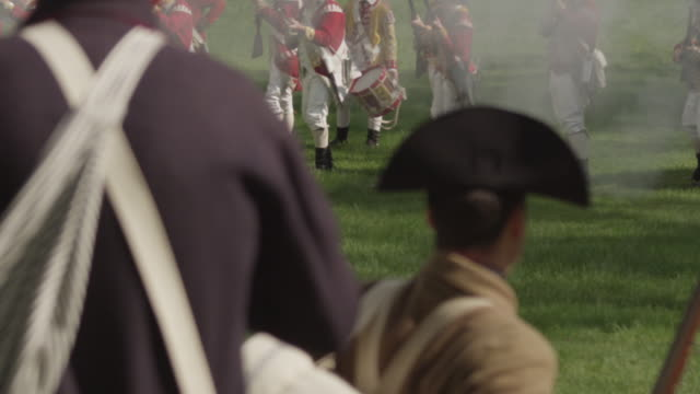 revolutionary war colonists facing off against british soldiers - revolution stock videos & royalty-free footage