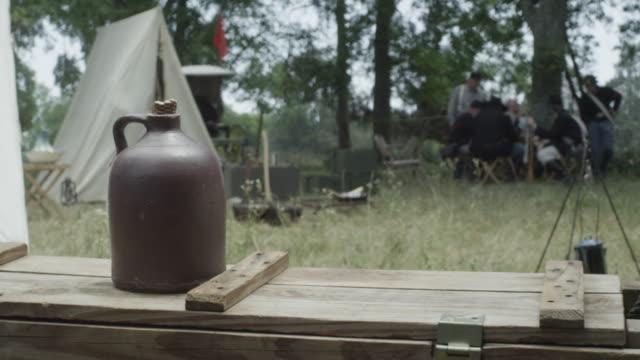 revolutionary war soldiers grab jug - jug stock videos & royalty-free footage