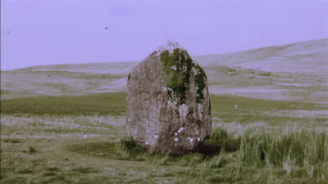 ws, composite, revolve around single stone on hill - obelisk stock videos & royalty-free footage