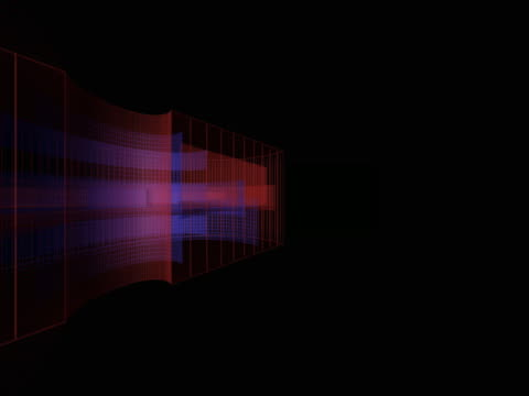 vídeos de stock e filmes b-roll de revolving blue and red geometric shapes - multimédia