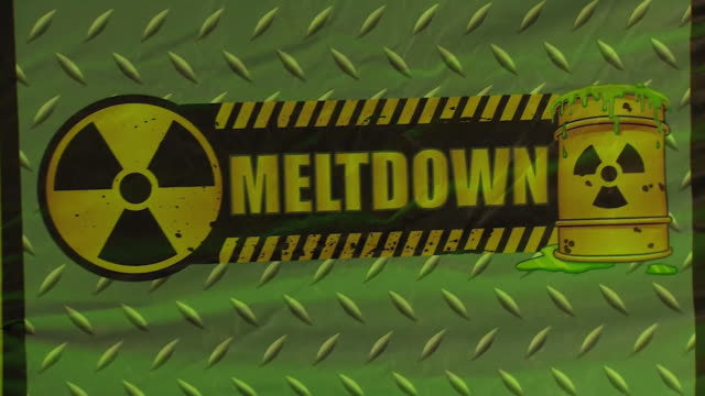 revolving foam obstacle at trampoline park in luton with hazard and meltdown signs on it - hindernisparcours stock-videos und b-roll-filmmaterial
