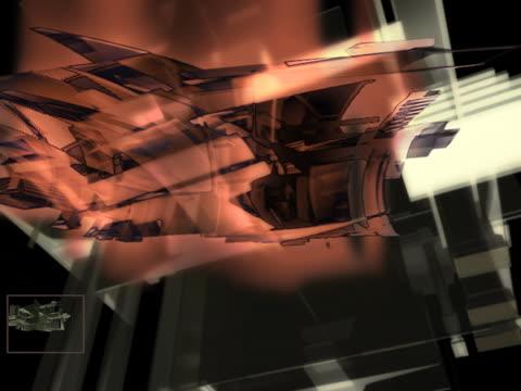 revolving futuristic geometric shapes - partiell lichtdurchlässig stock-videos und b-roll-filmmaterial