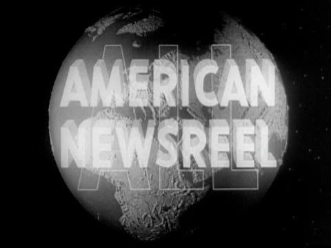 Revolving globe with with title 'All American Newsreel'